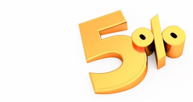 Golden five 5 por cento isolado., 5 por cento de desconto, renderização 3d