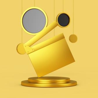 Golden movie clapper board em um pedestal dourado com suspensão de círculos abstratos em um fundo amarelo. renderização 3d