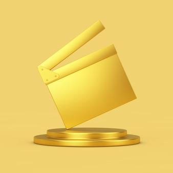 Golden movie clapper board sobre golden pedestal sobre um fundo amarelo. renderização 3d