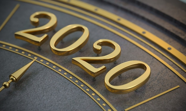 Golden new year number 2020 close up