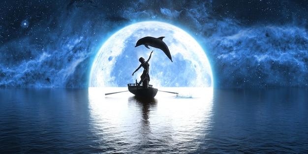 Golfinho pulando sobre um barco com uma mulher dançando no fundo da lua, ilustração 3d