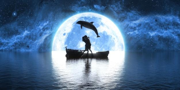 Golfinho saltando sobre um barco beijando pessoas no fundo da lua, ilustração 3d