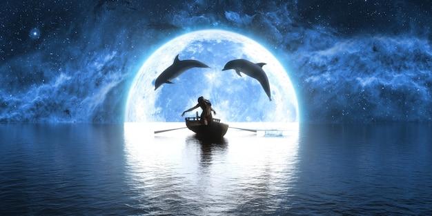 Golfinhos pulando sobre um barco com uma mulher dançando no fundo da lua, ilustração 3d