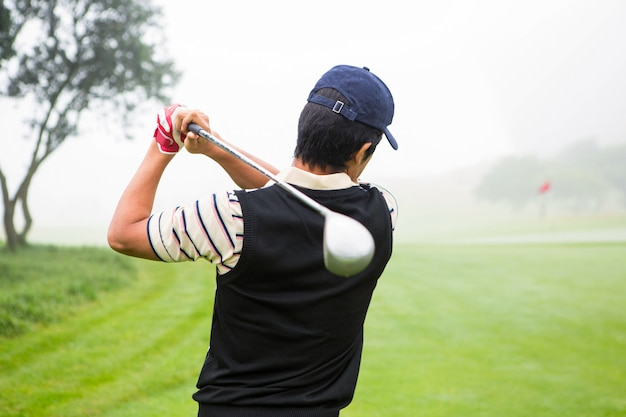 Golfista, teeing, desligado