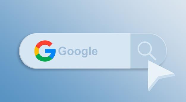 Google na barra de pesquisa com o cursor do mouse 3d