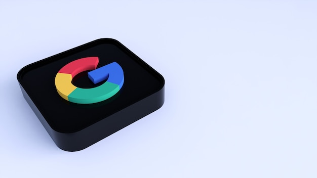 Google plus ícone de botão quadrado 3d com espaço de cópia. renderização 3d