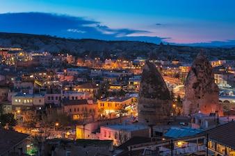 Goreme, antiga, cidade, vista, após, crepúsculo, cappadocia, em, central, anatolia, peru