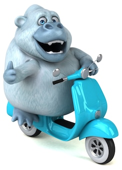 Gorila branco divertido - ilustração 3d