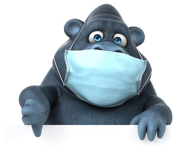 Gorila de desenho animado 3d divertido com uma máscara
