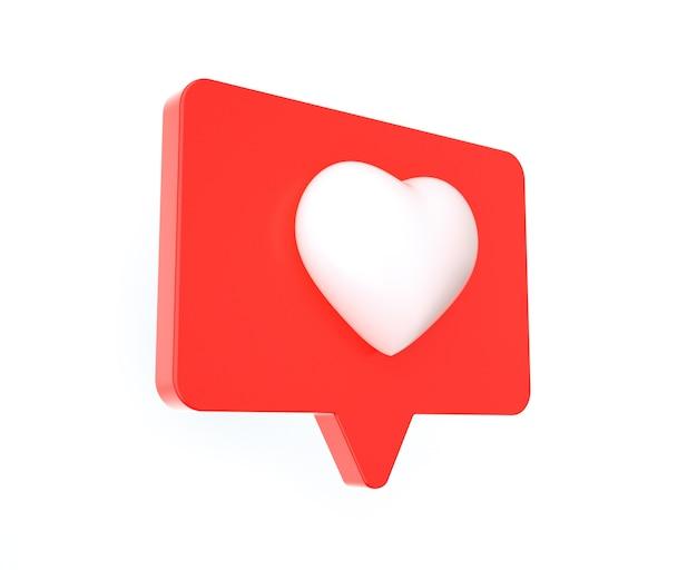 Gostar ou adorar ícone de mídia social isolado no fundo branco
