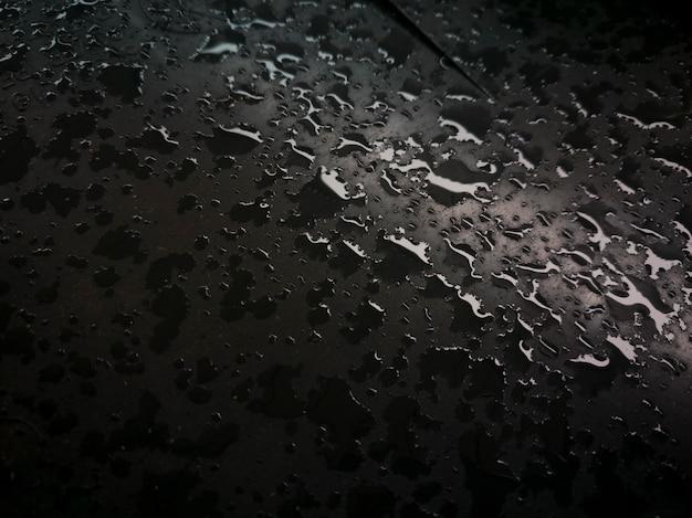 Gota de água na superfície escura