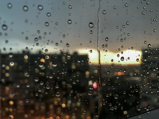 Gotas de água de gotas de chuva ao fundo