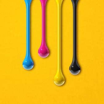 Gotas de tinta 3d cmyk isoladas em fundo de papel amarelo. papel de parede quadrado. ilustração