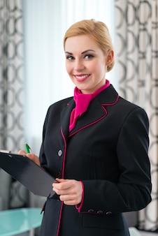 Governanta, verificar, hotel, suite