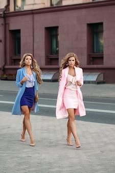 Graciosas mulheres de negócios em vestidos elegantes andando na cidade