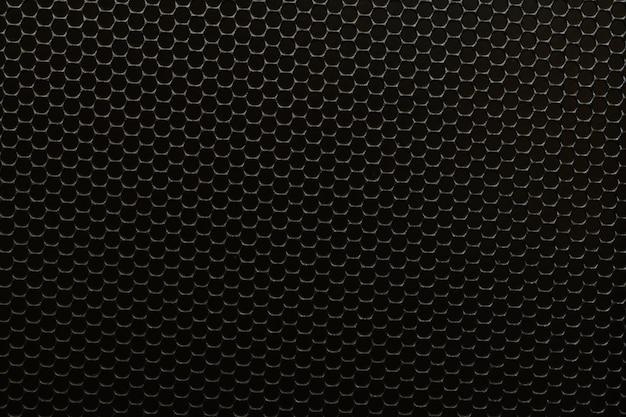 Grade de alto-falante de metal perfurado preto grade de metal de aço preto fundo textura círculo buraco