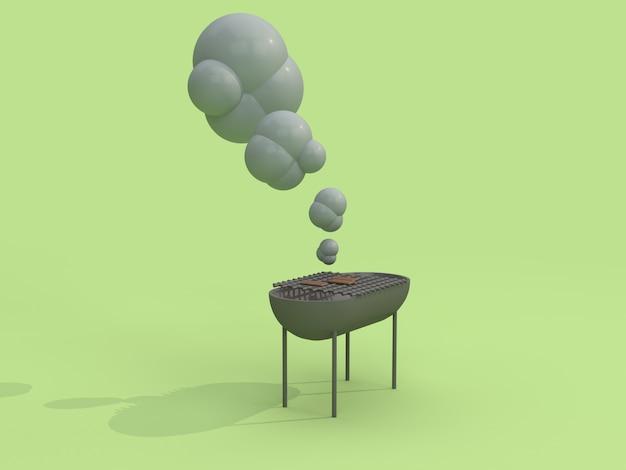 Grade de churrasco 3d e fumo estilo cartoon renderização em 3d verde