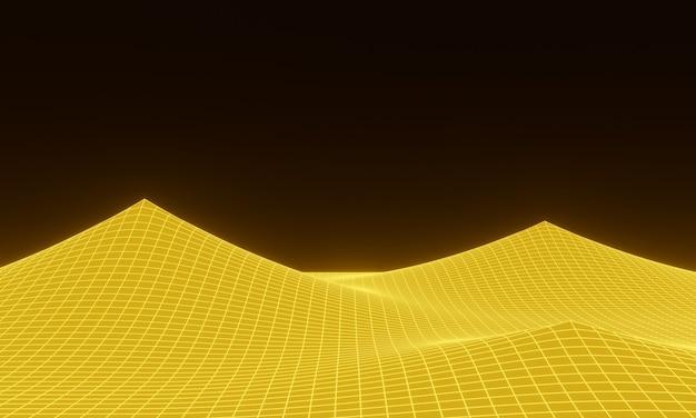 Grade de montanha topográfica amarela renderizada em 3d
