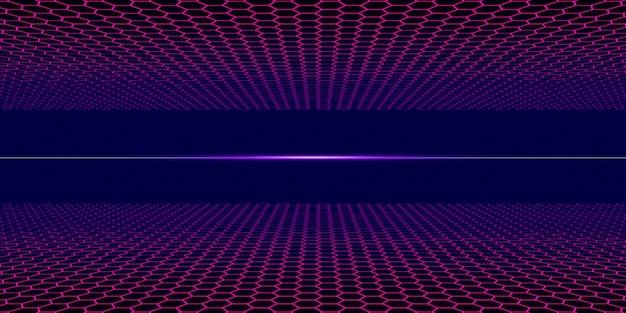 Grade de néon estilo vapor dos anos 80 com horizonte escuro retro campo elétrico ilustração 3d
