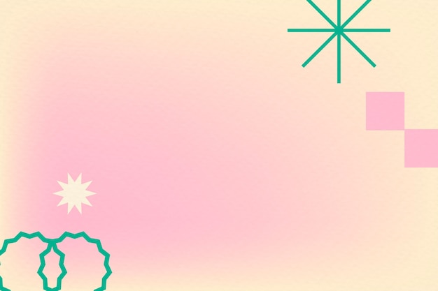 Gradiente abstrato memphis rosa com formas geométricas