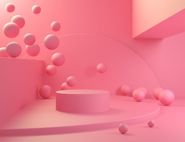 Gradiente de cena rosa com bola mínimo 3d render
