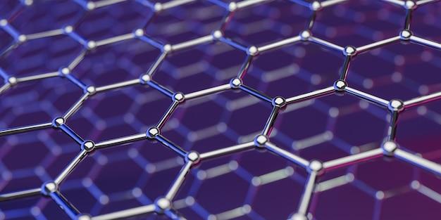 Grafeno, molecular, nano, tecnologia, estrutura, ligado, purple-pink, -, 3d, fazendo