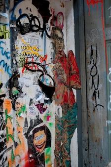 Graffiti pintado em uma parede em manhattan, new york city, eua