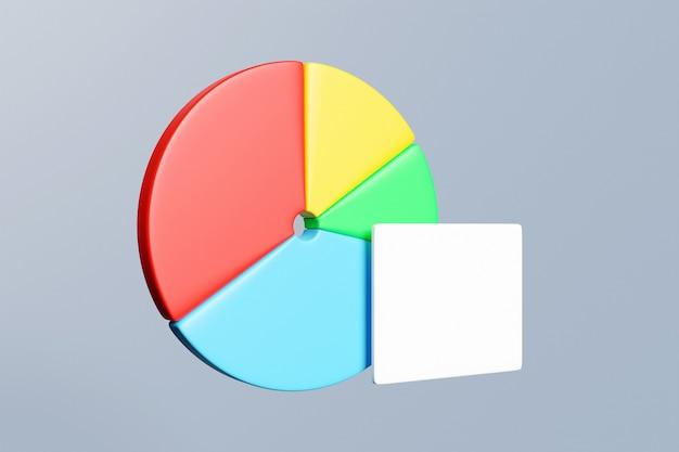 Gráfico com 4 setores e placa branca para opções de cronograma, apresentação, relatório, etapas
