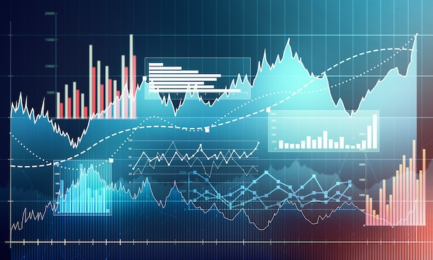 Gráfico com gráfico de linha de tendência de alta, gráfico de barras e diagrama no mercado de touro em fundo azul escuro