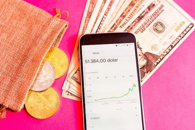 Gráfico com o aumento do preço do bitcoin visto em um aplicativo móvel
