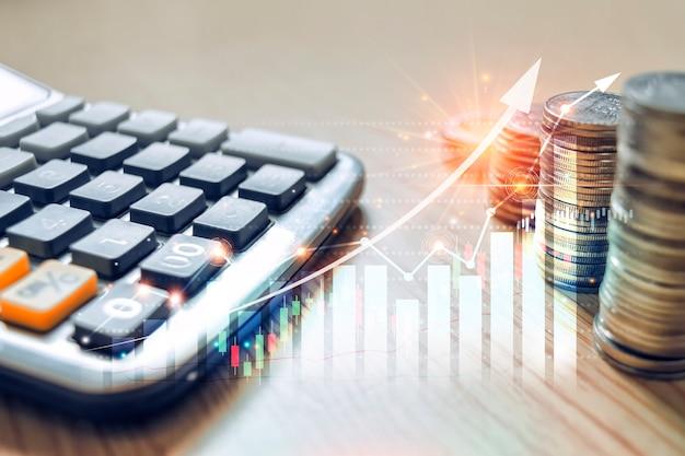 Gráfico comercial do mercado financeiro do mercado de ações e negociação de investimentos