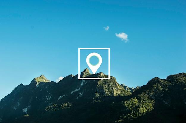 Gráfico da posição da direção da localização do pino do mapa
