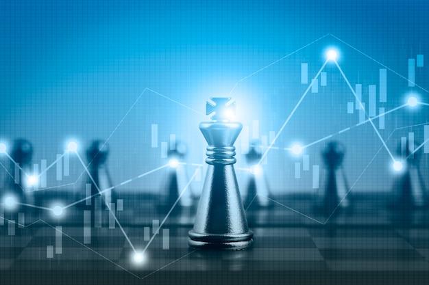 Gráfico de ações do mercado financeiro de dupla exposição com competição de jogo de tabuleiro de xadrez