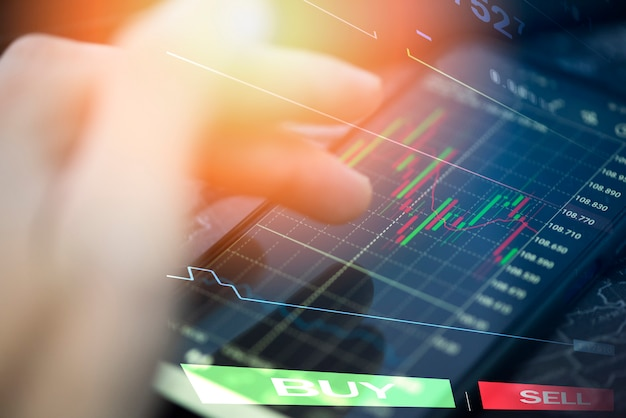 Gráfico de ações ou forex online com aplicação no smartphone