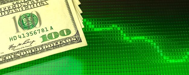 Gráfico de ações verdes e notas de dólar, foto de banner de finanças