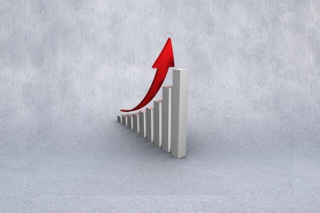 Gráfico de barra com seta crescimento