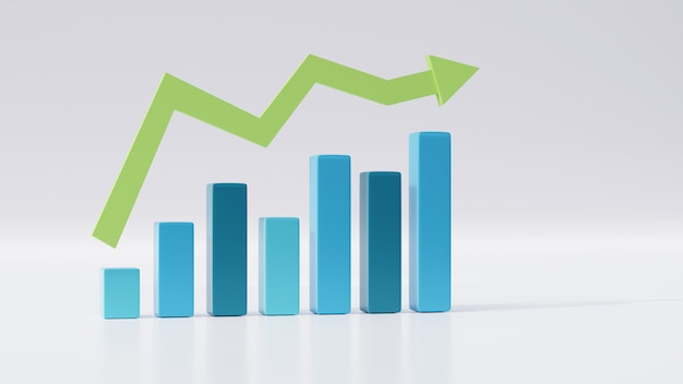 Gráfico de barras 3d isolado com reflexão, melhorando o conceito de crescimento do negócio com seta de tendência de alta, previsão de estatísticas, lucro financeiro