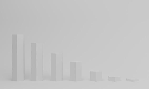 Gráfico de barras de colunas crescentes na cor branca