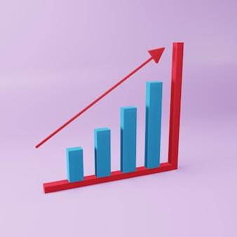 Gráfico de barras de crescimento 3d. conceito de negócios. ilustração 3d do diagrama de barras de crescimento