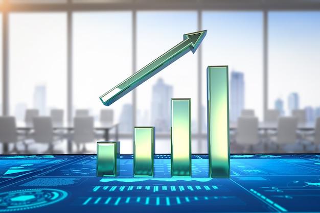 Gráfico de barras de crescimento de renderização 3d com display gráfico no escritório