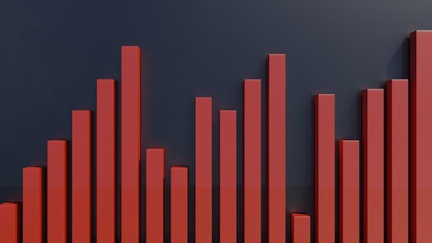 Gráfico de barras de estatísticas de negócios ou gráfico em 3d render
