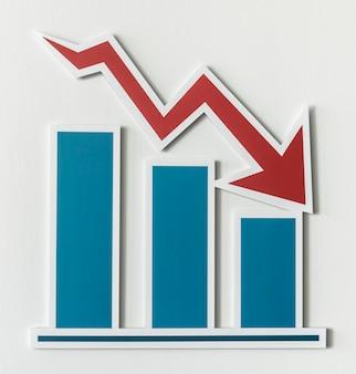 Gráfico de barras de relatório de negócios em declínio