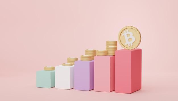 Gráfico de barras de renderização 3d e pilha de bitcoins e ouro para economizar dinheiro para o objetivo.