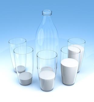 Gráfico de barras de vidro de leite sobre fundo azul.