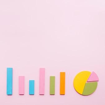 Gráfico de barras e gráfico de pizza no fundo rosa