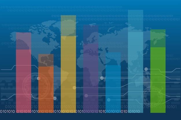 Gráfico de barras gráfico diagrama estatística negócios relatório anual colorido infográfico