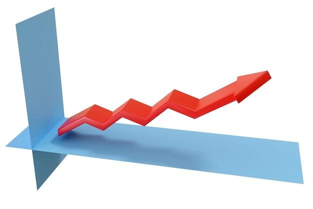 Gráfico de crescimento com seta em três dimensões.