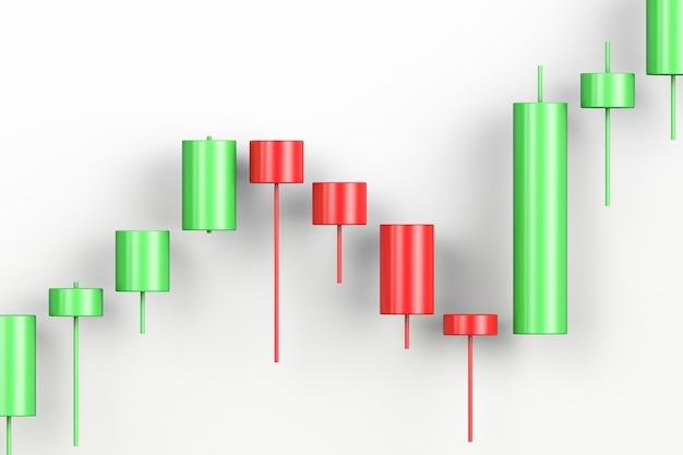 Gráfico de crescimento do mercado. vista de velas japonesas.