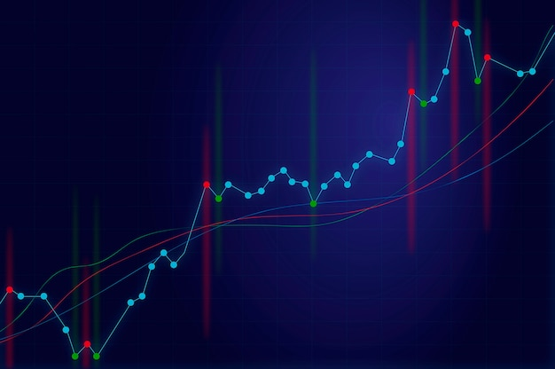 Gráfico de crescimento em um fundo azul com sinais