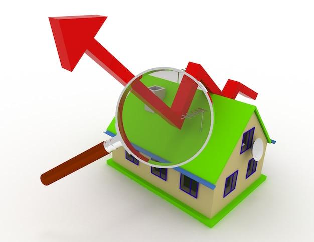 Gráfico de crescimento imobiliário. ilustração renderizada 3d
